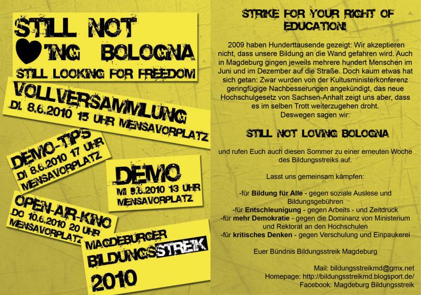 Flyer Bildungsstreik MD 2010